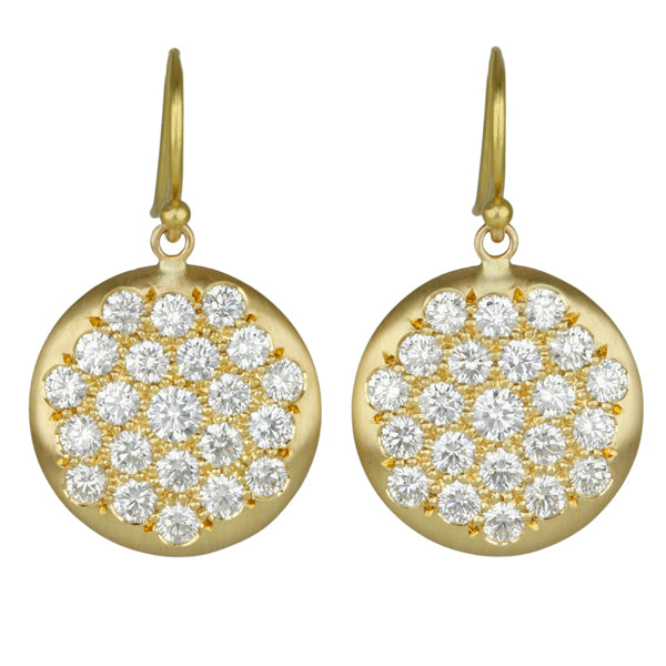 "Gold and Pave Diamond Large ""Lentil"" Earrings"