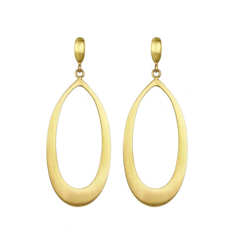 "Caroline Ellen Gold Pear-Shaped ""Doorknocker"" Earrings"