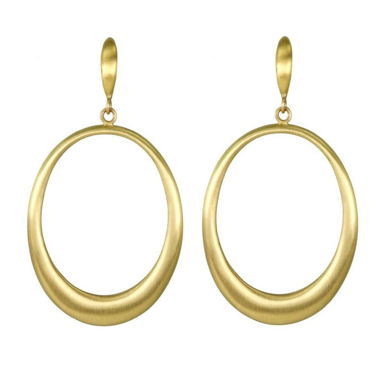 "20K Gold Oval ""Doorknocker"" Earrings with Oval Post Top"