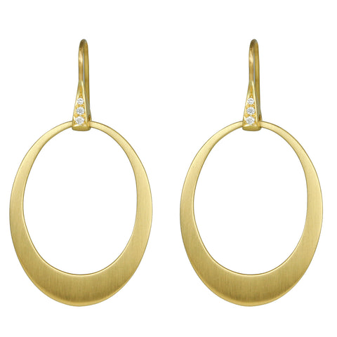 "20K Gold Graduated Oval ""Doorknocker"" Hoop Earrings on Sculptural Pave Diamond Earwires"