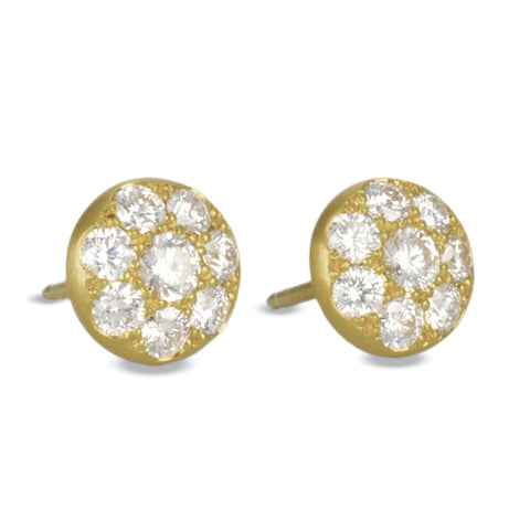 Gold and Pave Diamond Disc Post Earrings