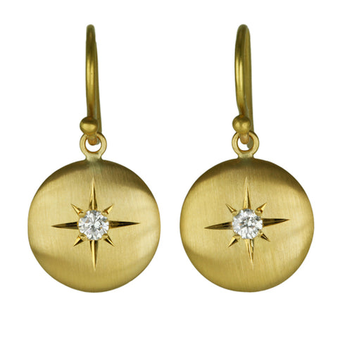 "Caroline Ellen Gold and Diamond Medium ""Lentil"" Earrings"
