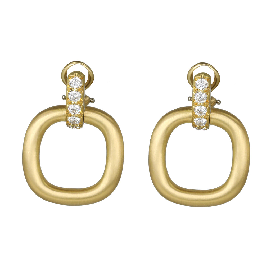 "Caroline Ellen Gold Cushion-Shaped ""Doorknocker"" Clip On Earrings with Pave Diamonds"