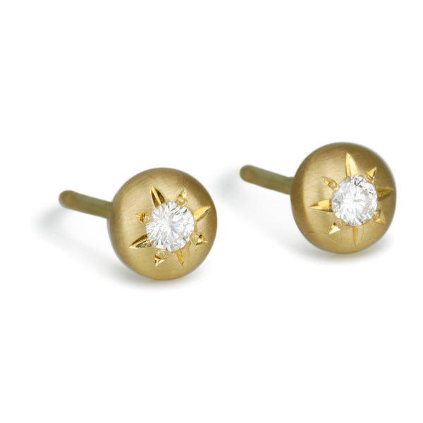 Gold and Star-Set Diamond Medium Post Earrings