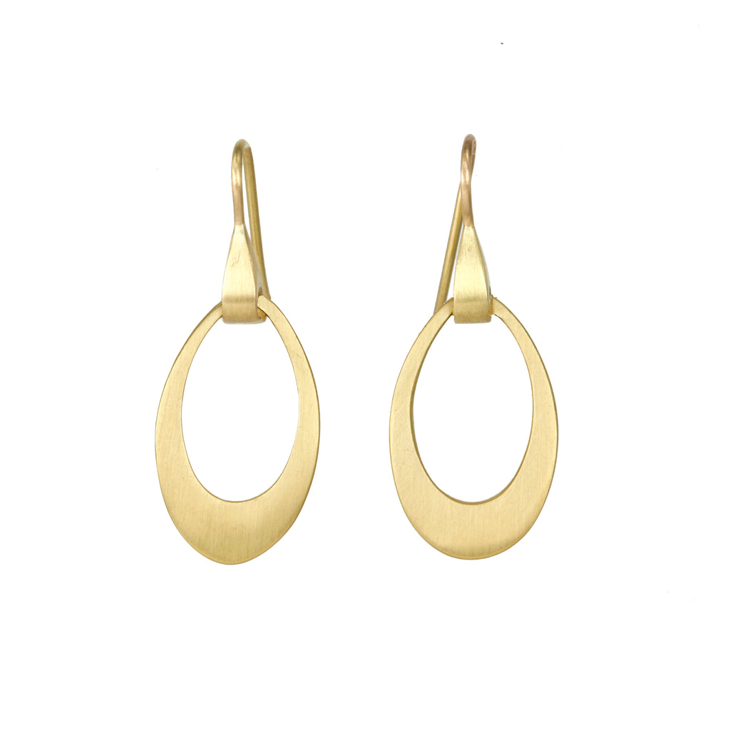 "Caroline Ellen Mini Pear-Shaped ""Doorknocker"" Earrings on Sculptural Ear Wires"