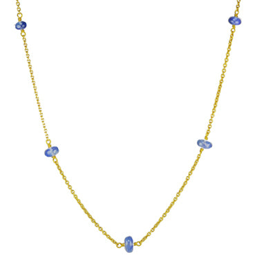 18K Gold Blue Sapphire Station Chain Necklace