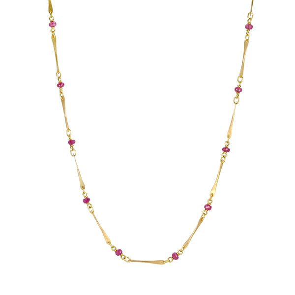 Gold and Ruby Planished Link Necklace