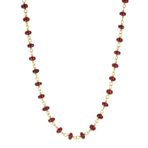 Caroline Ellen Gold and Cabachon Ruby Necklace