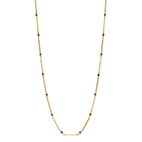 Gold and Black Diamond Bar Chain Necklace