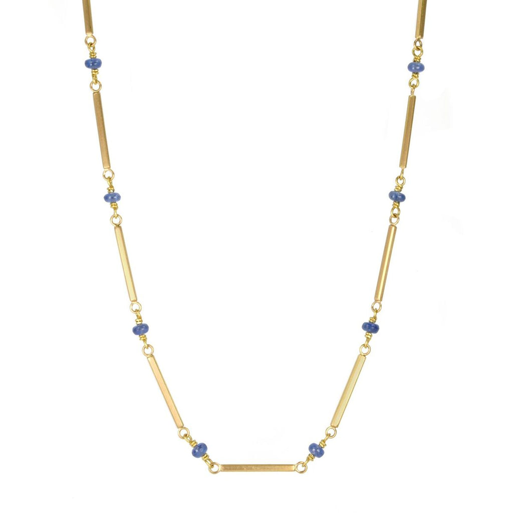 Gold Bar and Cabochon Sapphire Beaded Necklace