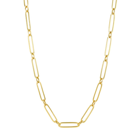 "Gold Handmade Long ""Flattened Link"" Necklace"