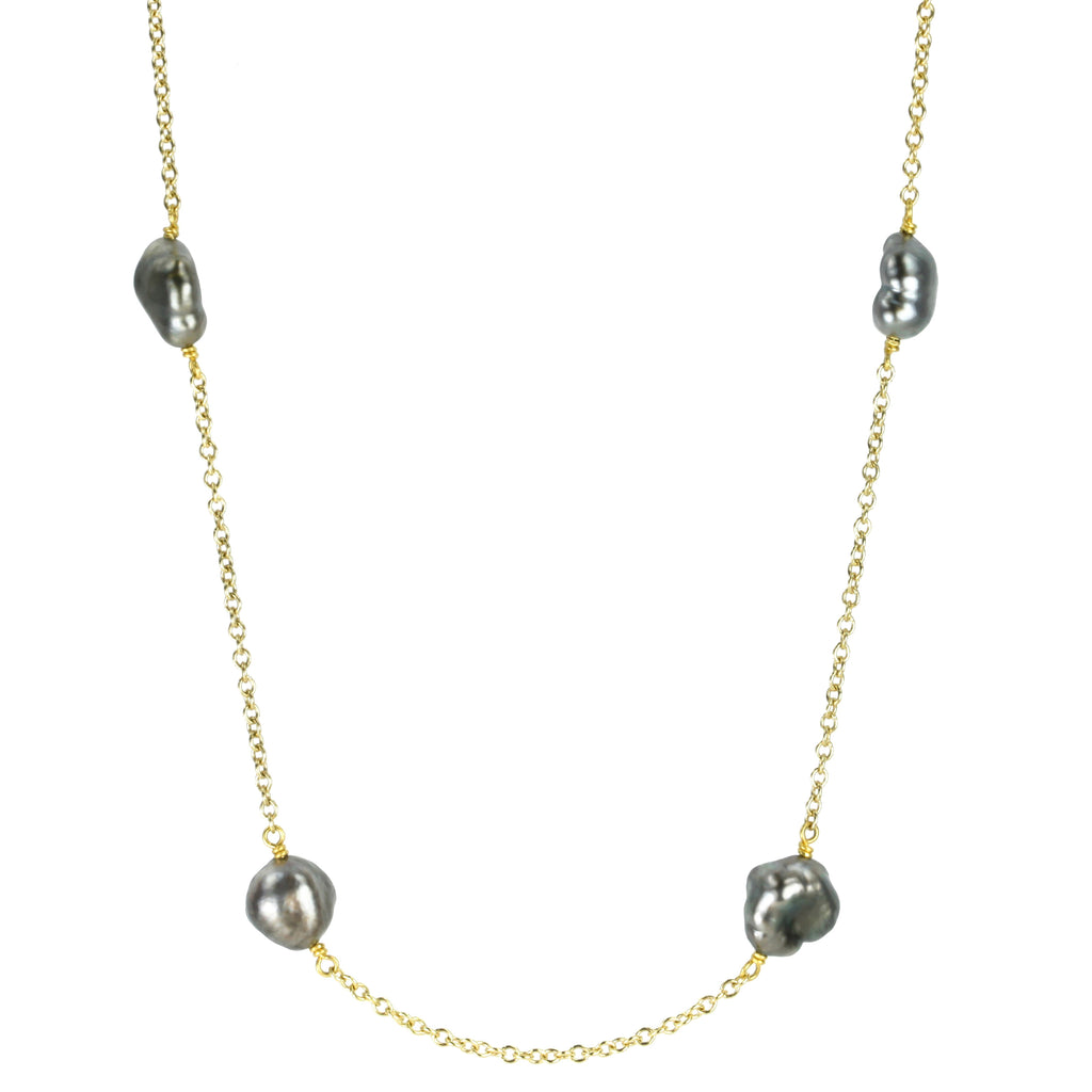 Gold and Gray Keshi Pearl Chain Necklace