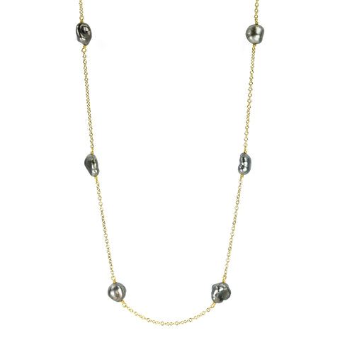Caroline Ellen Gold and Gray Keshi Pearl Chain Necklace