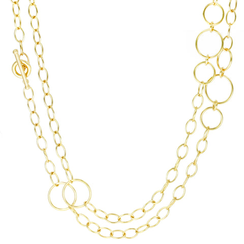 "Caroline Ellen 20K Gold Handmade Large ""Airy"" Link Chain Necklace"