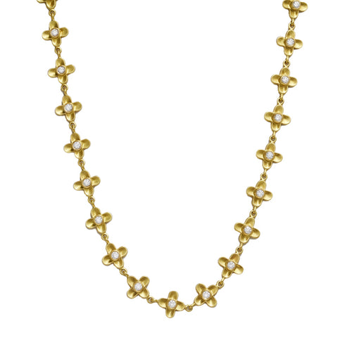 "Gold and Diamond ""Four Petal Flower"" Necklace"