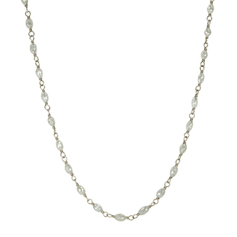Oval Grey Diamond Bead and Palladiun White Gold Wire Wrap Necklace