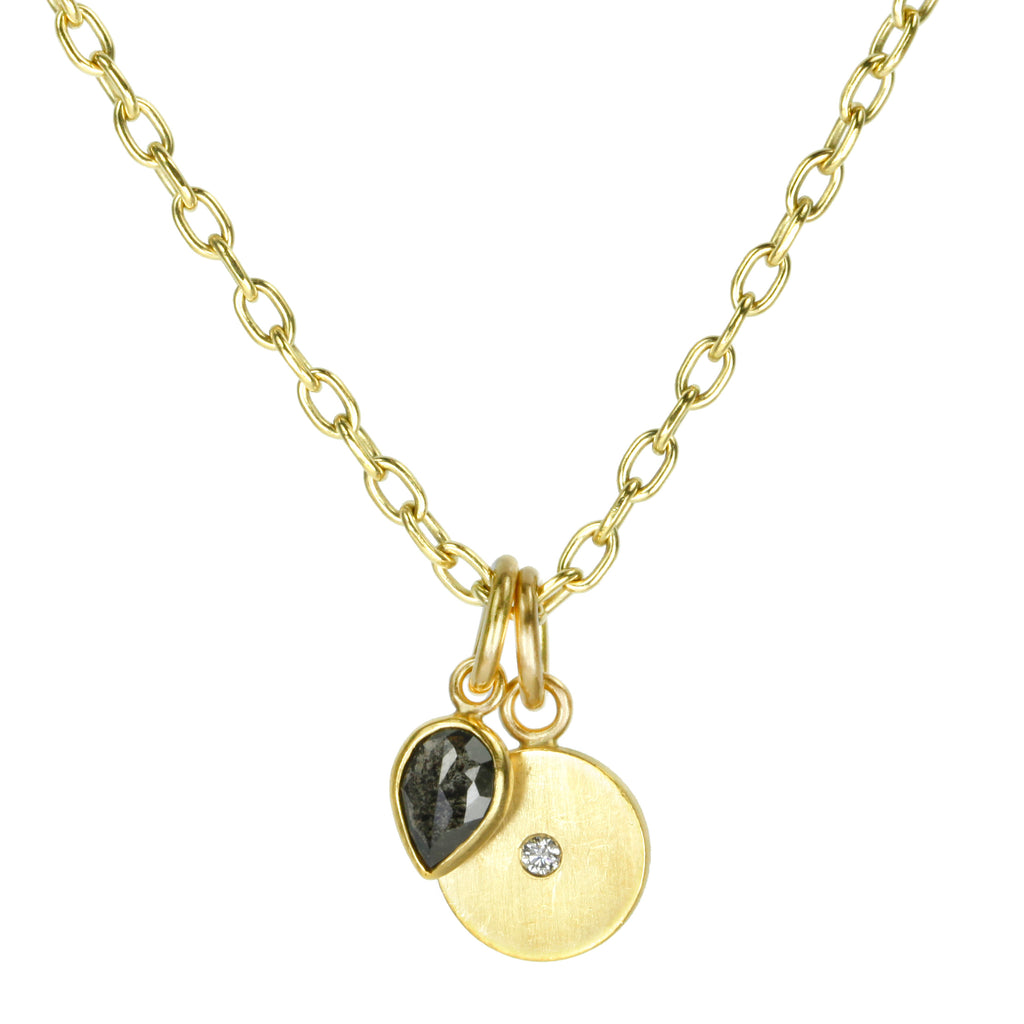 "20K Gold Disc Pendant Necklace with Diamond and Pearshape Black Diamond ""Sidekick"""