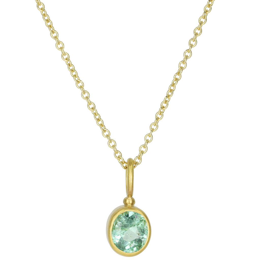 Caroline Ellen 22K Gold Oval Bezel-Set Emerald Pendant Necklace