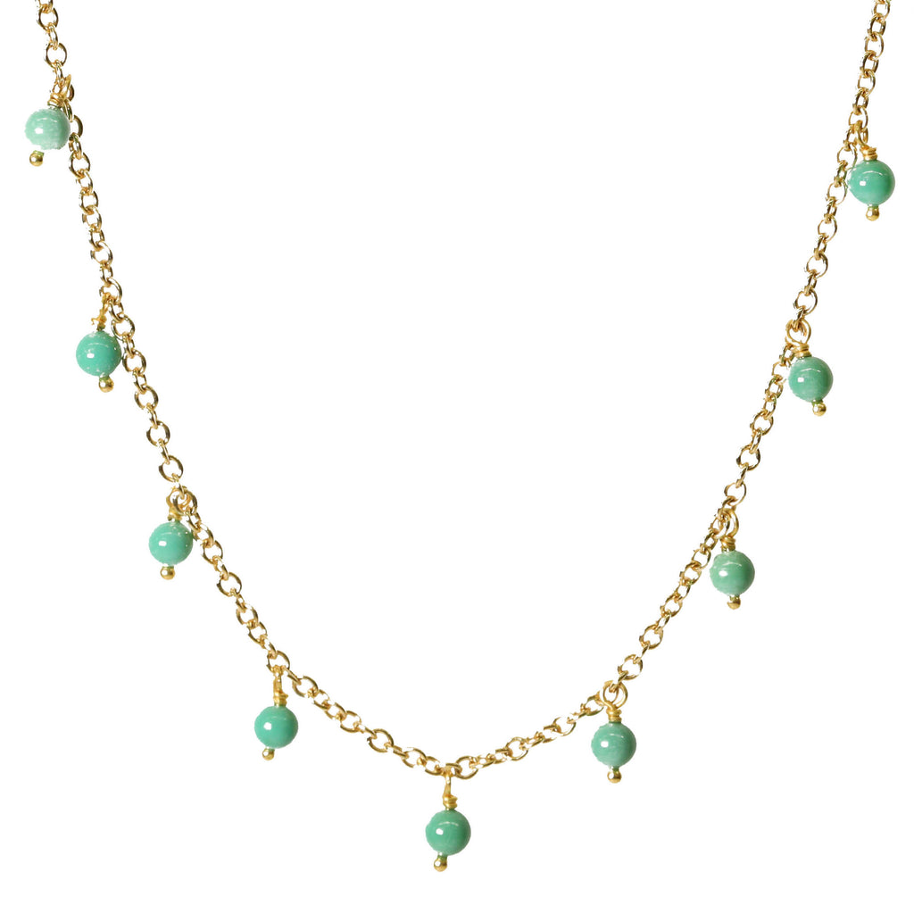 "Gold and Turquoise ""Fringe"" Necklace"