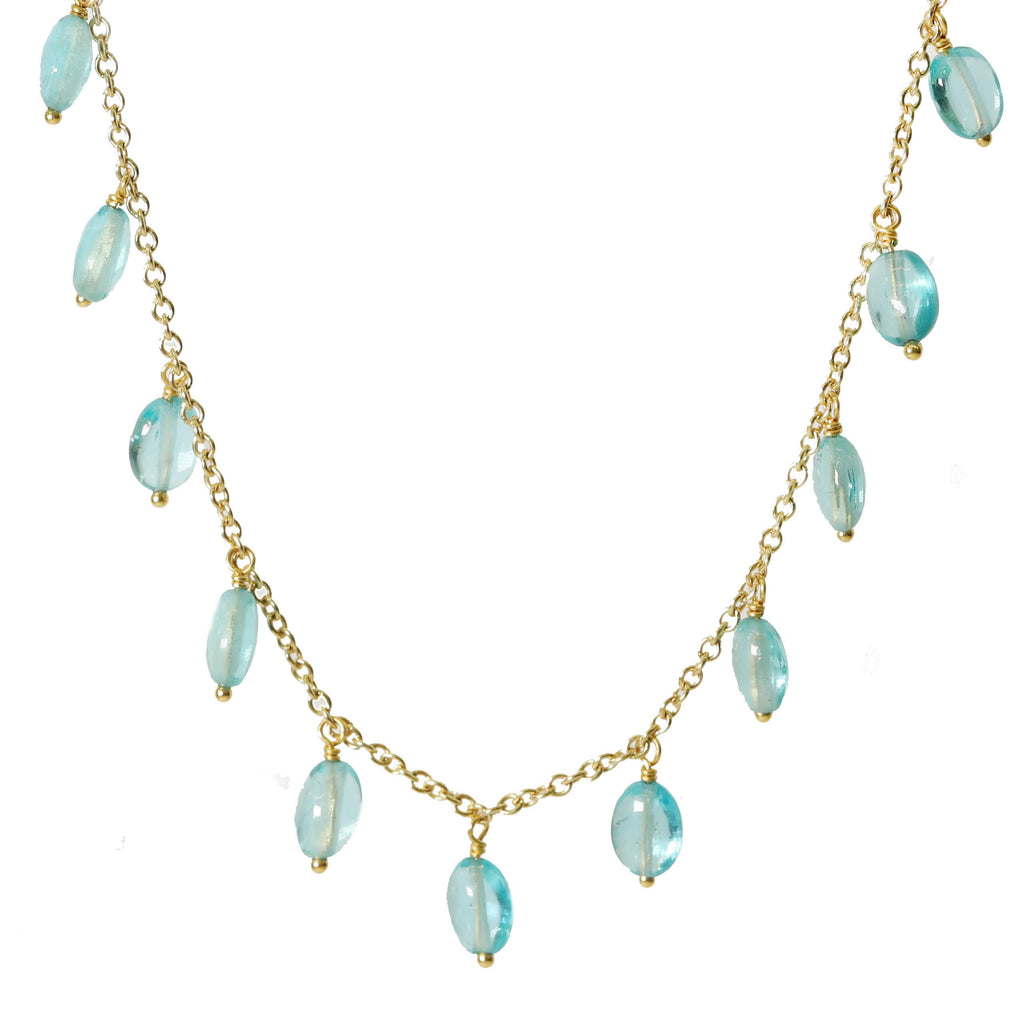"Gold and Oval Apatite ""Fringe"" Necklace"