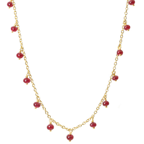 "Gold and Cabochon Ruby ""Fringe"" Necklace"