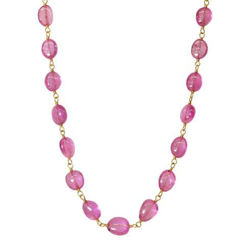 Caroline Ellen 20K Gold Wire-Wrapped Smooth Pink Sapphire Necklace