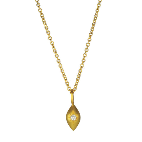 "Gold and Diamond ""Lemondrop"" Pendant"