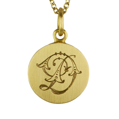 "Gold and Diamond Initial ""D"" Pendant"