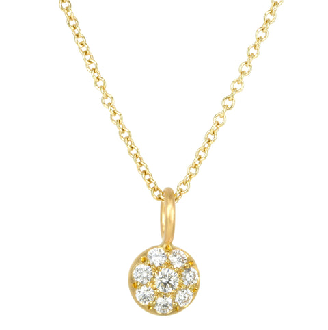 Gold and Pave Diamond Mini Disc Pendant Necklace