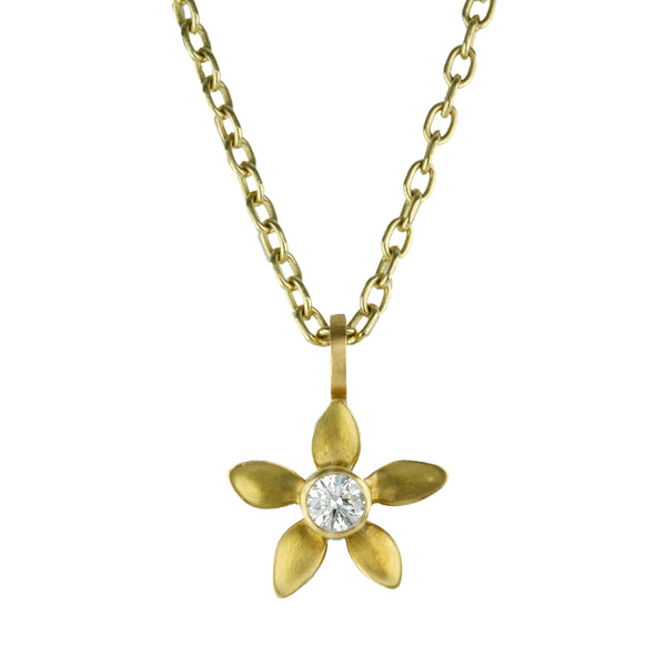 Gold and Diamond Flower Pendant