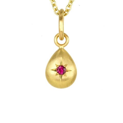 Gold and Star-Set Burmese Ruby Teardrop Pendant