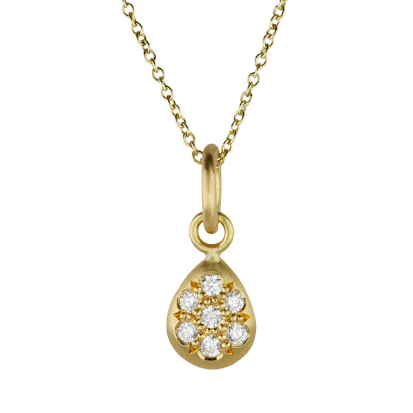 Gold and Pave Diamond Teardrop Pendant