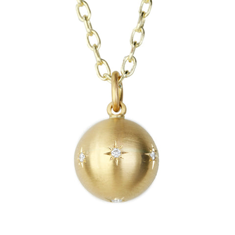 Gold and Diamond 14mm Ball Pendant