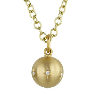 Gold and Diamond 12mm Ball Pendant