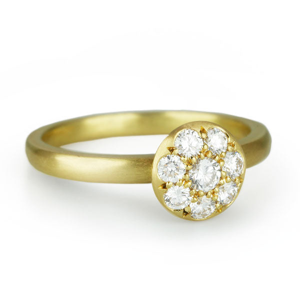"Gold and Pave Diamond Mini ""Lentil"" Ring"