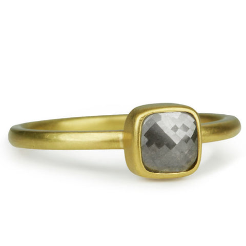 Gold Rose-Cut Grey Diamond Ring