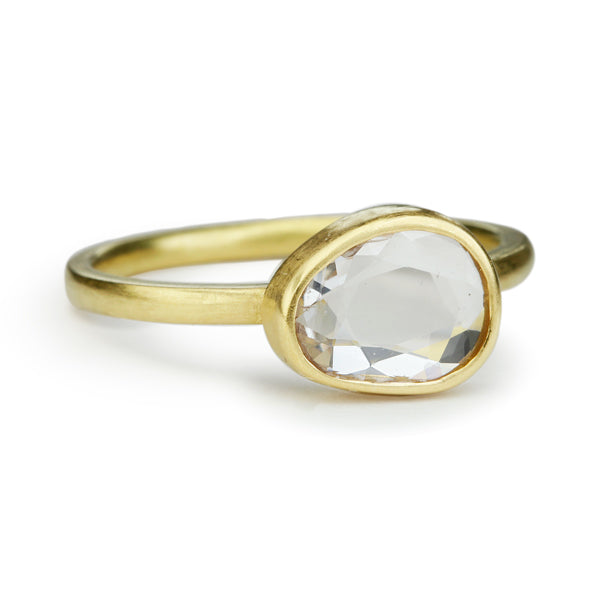 Gold and White Sapphire Ring