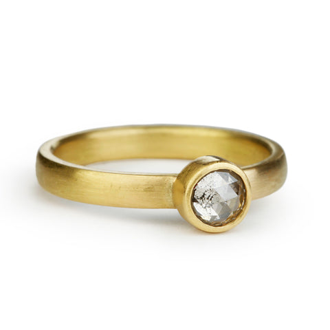 Gold and Grey Diamond Ring