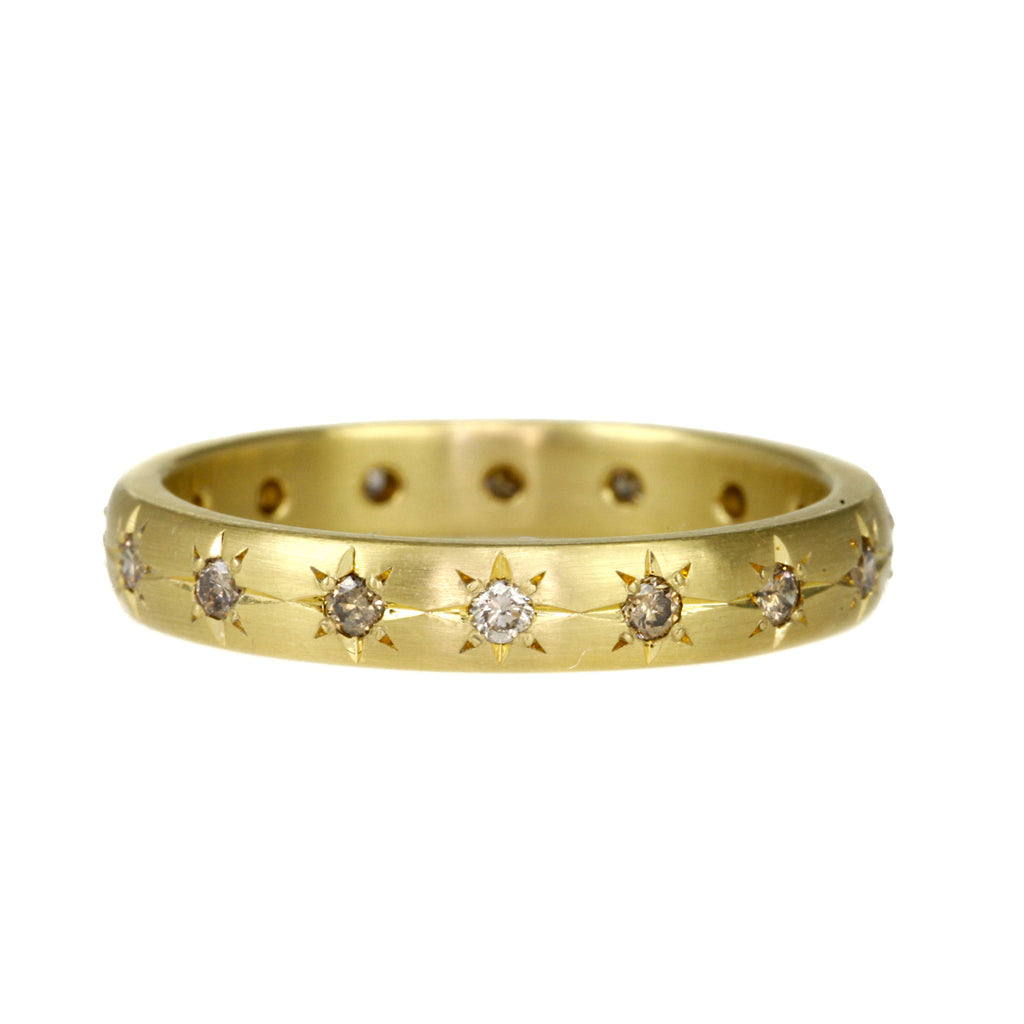 Gold and Star-Set Cognac Diamond 3.5mm Ring