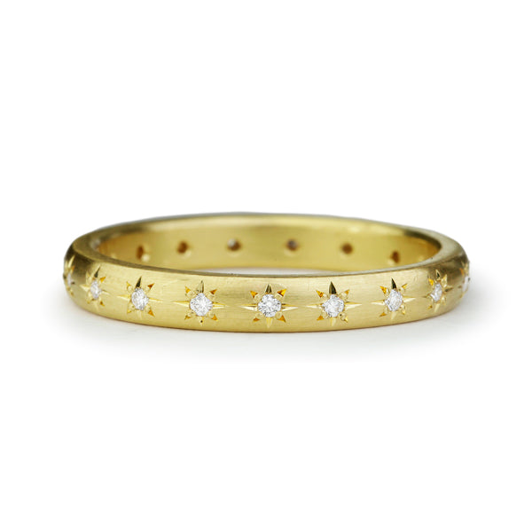 Gold and Star-Set Diamond 2.75mm Ring