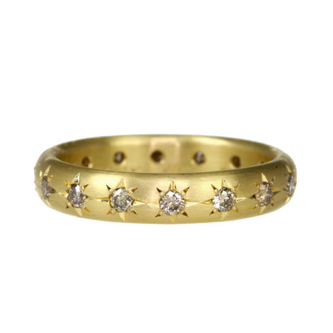 Caroline Ellen Gold and Star-Set Cognac Diamond 4mm Ring