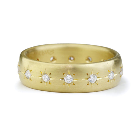 Gold and Star-Set Diamond 6mm Ring