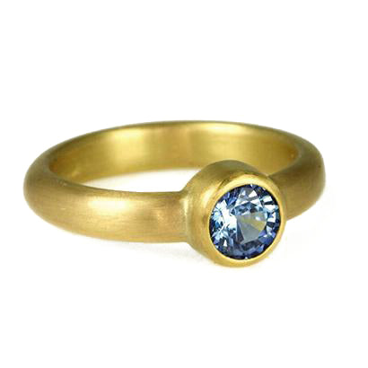 Caroline Ellen 22K Gold Ring with Blue Sapphire