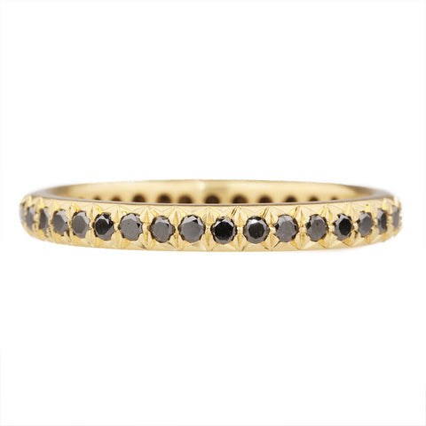 Caroline Ellen 20K Gold Pave Black Diamond Ring