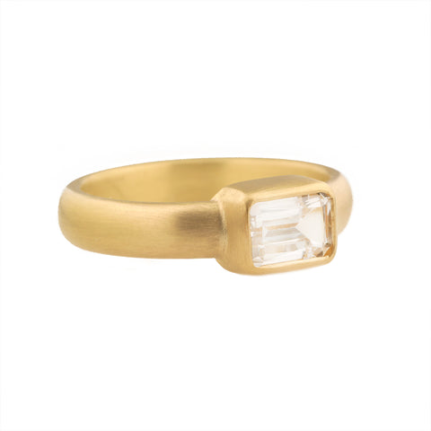 Caroline Ellen 20 & 22K Gold Bezel-Set Emerald-Cut White Sapphire Ring