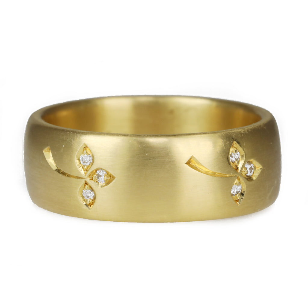 Caroline Ellen 20K Gold Wide Rounded Ring with Engraved Diamond Flowers