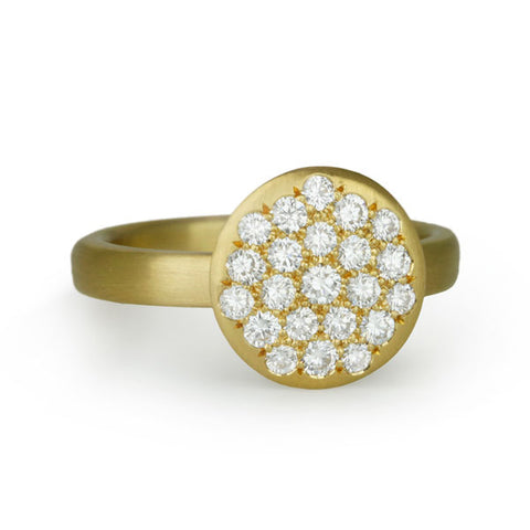 "20 Karat Yellow Gold ""Lentil"" Ring with Pave Diamonds"