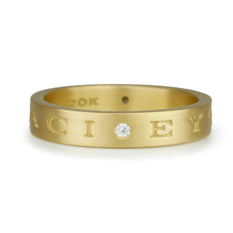 20 Karat Yellow Gold Band with Engraved Greek Letter Quote
