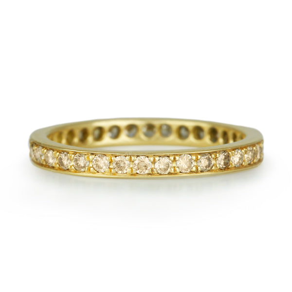 Gold and Cognac Diamond Straight Edge Ring