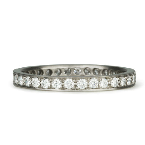 Palladium White Gold Straight Edge Pave Diamond Ring